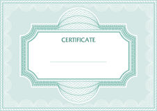 Guilloche  frame. Horizontal guilloche  frame for diploma or certificate Royalty Free Stock Photo