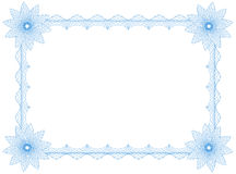 Frame. Guilloche frame with flowers, border, size A4, thickness of the lines can be changed easily Stock Images
