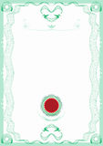 Guilloche Green Border Certificate with Red Seal royalty free illustration