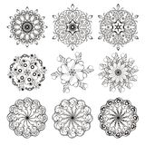 9 guilloche ornaments. 9 ornaments ( guilloche rosettes ) black on white for stamps royalty free illustration