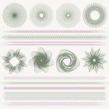 Guilloche patroon, watermerken, grenzen (munt) Royalty-vrije Stock Afbeelding