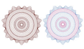 Guilloche rosette,  pattern for currency, ce Royalty Free Stock Photos
