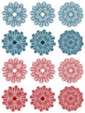 Guilloche - rosettes. Rosettes: elements of security drawing (guilloche) for protecting dokuments such as checks Stock Image