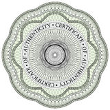 Guilloche Seal 1. With circular text stating certificate of authenticity Stock Images