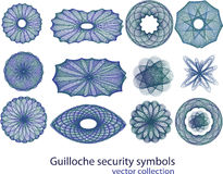 Guilloche security symbol collection Stock Image