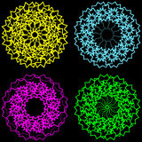 Guilloche and spirographs in different colors. Blue, red, yellow, green ornaments on a black background vector illustration