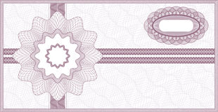 Guilloche voucher. Purple guilloche vector background for voucher, coupon or banknote Royalty Free Illustration