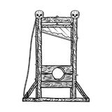 Guillotine vector illustration isolated on a white background. Guillotine vector black illustration with skulls on a white background Stock Images