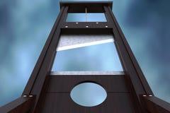 Guillotineinstrument voor het opleggen van doodstraf door onthoofding en dramatische achtergrond stock afbeeldingen