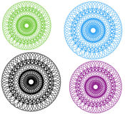 Guiloche,Flowers Vector. Black and purple, green colorful, round Flowers,circle Guiloche Royalty Free Stock Images