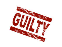 Guilty. Stylized red stamp shows the term guilty. All on white background Stock Photo