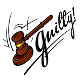 Guilty. Court judge wooden hammer crime sentence punishment Royalty Free Stock Photography