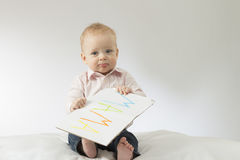 Free Guilty Baby Boy Holds Poster With Sign Mama In His Hands. Embarrassed Infant Kid With A Big Postcard. Mama - First Word Royalty Free Stock Photography - 90417607