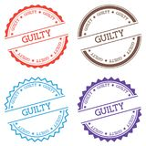 Guilty badge isolated on white background. Flat style round label with text. Circular emblem vector illustration Royalty Free Stock Photos