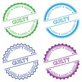 Guilty badge isolated on white background. Flat style round label with text. Circular emblem vector illustration Stock Photography