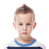 Guilty boy. Guilty and upset small kid on isolated white Stock Photography