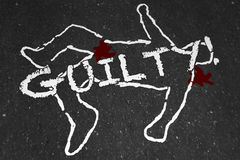 Guilty Crime Suspect Dead Body Murder Chalk Outline. Illustration Stock Photos