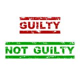 Guilty and not guilty rubber stamp. Badge justified grunge, emphasize grungy text for justice. Vector illustration Royalty Free Stock Photos