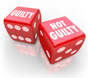 Guilty or Not 2 Red Dice Innocent Judgment Verdict Taking Chance Royalty Free Stock Images