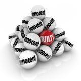 Guilty Vs Innocent Pyramid Balls Decision Verdict Judgment Stock Images