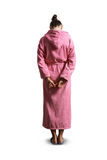 Guilty woman in pink dressing gown Royalty Free Stock Photo
