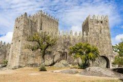 Guimaraes Castle. Built in 10th century by Nuna Mumadona contessa to protect the monastery at Guimaraes, Portugal royalty free stock photos