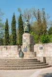 GUIMARAES, PORTOGALLO - CIRCA APRILE 2018: Statua del primo re fotografie stock libere da diritti