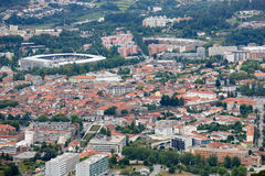 Guimaraes. PORTUGAL - AUGUST 7, 2014: Aerial view on the center of , Portugal royalty free stock photo