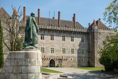 Palace of the Duques of Braganca. GUIMARAES, PORTUGAL - CIRCA APRIL 2018: Palace of the Duques of Braganca, a medieval palace and museum in Guimaraes, Portugal stock images