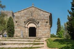 GUIMARAES, PORTUGAL - CIRCA APRIL 2018: Romanesque Capela de Sao Miguel Chapel, near the Guimaraes Castle, where medieval knights stock photo