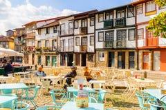 Architecture of Guimaraes, Portugal. GUIMARAES, PORTUGAL - OCT 14, 2016: Oliveira Plaza of Historic Centre of Guimaraes, Portugal. UNESCO World Heritage stock photography