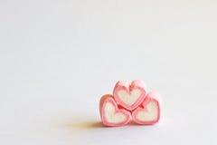 Guimauve dans la forme de coeur pour l'amour Images stock