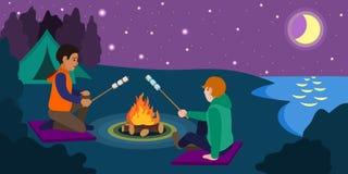 Guimauve de cuisinier d'ami sur le feu près du fond de concept de lac, style plat illustration stock