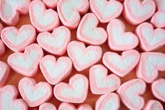 Guimauve de forme de coeur pour le fond de valentines Photographie stock