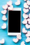 Guimauve rose de forme de coeur pour le thème d'amour et le backgr de Valentine Images libres de droits