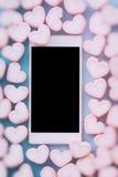 Guimauve rose de forme de coeur pour le thème d'amour et le backgr de Valentine Photos libres de droits