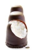 Guimauves avec du chocolat Photographie stock