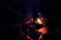 Guimauves de torréfaction à un feu de camp Photographie stock