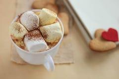 Guimauves et chocolat dans une tasse avec des biscuits Photos libres de droits