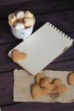 Guimauves et chocolat dans une tasse avec des biscuits Image libre de droits