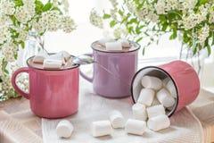 Guimauves sur le cacao chaud dans des tasses roses Images libres de droits