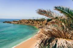 Guincho海滩,卡斯卡伊斯,葡萄牙鸟瞰图  免版税库存图片