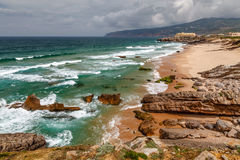 Guincho Beach on Atlantic Ocean in Stormy Weather near Lisbon Royalty Free Stock Photography
