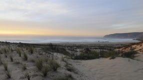 Guincho Beach at Sundown, Sand Dunes Landscape, Roca Cape, Outskirts Lisbon Royalty Free Stock Image