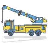 Guindaste amarelo azul do esboço com gancho e braço no branco Trabalhos da maquinaria e da terra de construção ilustração stock