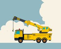 Guindaste amarelo grande, céu com as nuvens no fundo Stylization da cor do vintage ilustração royalty free