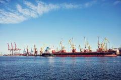 Guindaste da carga do porto sobre o fundo do céu azul Porto marítimo, guindaste para carregar no por do sol transporte foto de stock royalty free