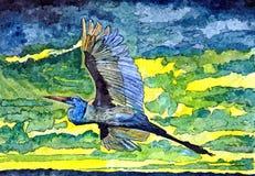 Guindaste de encontro ao céu Aquarela molhada de pintura no papel Arte ingénua Aquarela do desenho no papel ilustração do vetor