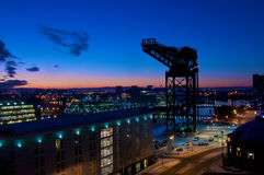 Guindaste de Finnieston, Glasgow no por do sol Imagem de Stock Royalty Free