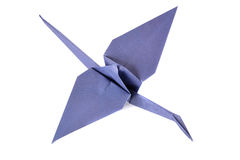 Guindaste de Origami isolado sobre o branco Fotografia de Stock